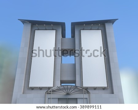 Set of two blank white billboards on the wall of high building with blue sky, mock up - stock photo