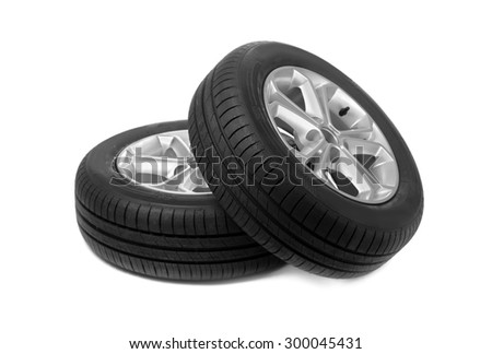 Set of two car wheels. Studio. Isolate on white.