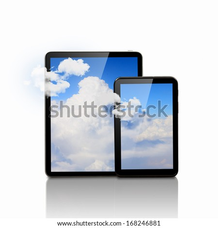 Set of two computer devices with clouds illustration - stock photo