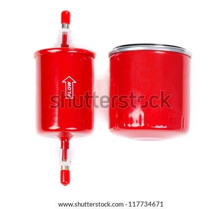 set of two filters, oil and fuel. Isolate on white. - stock photo