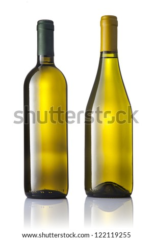 Set of two green bottles of white wine isolated on white background. - stock photo