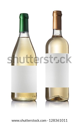 Set of two green bottles with labels of white wine isolated on white background.