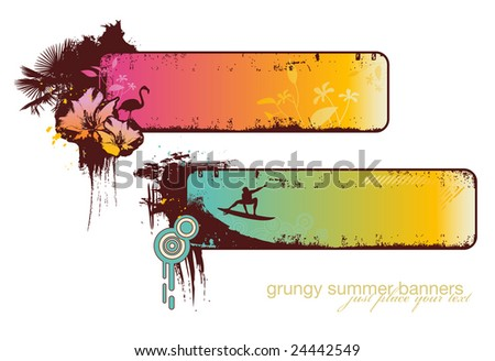 set of two grungy summer-banners - please see my portfolio for the corresponding vector-version - stock photo