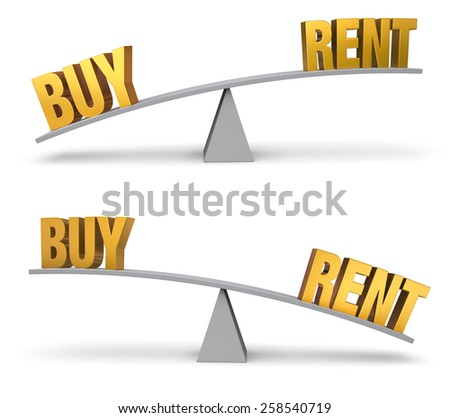 """Set of two images. In each, a gold """"BUY"""" and """"Rent"""" sit on opposite ends of a gray balance board.  In one image, """"BUY"""" outweighs """"RENT"""" in the other, """"RENT"""" outweighs """"BUY"""". Isolated on white. - stock photo"""