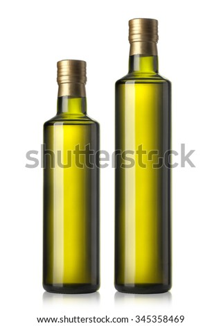 set of two Olive oil bottles on white background - stock photo