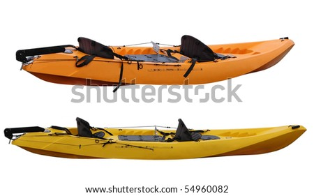 Set of two plastic kayaks isolated on white background