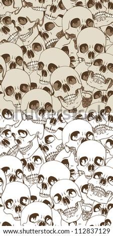 Set of Two Seamless Patterns. Human Skulls Background. Rasterized Version - stock photo