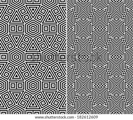 Set of Two Seamless Patterns. Rasterized Version - stock photo