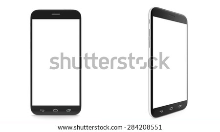 Set of two smartphones with blank screen isolated on white background. 3d illustration High resolution - stock photo