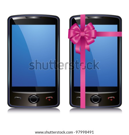 Set of two touch screen smart phone isolated on white background