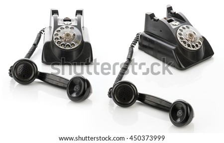 Set of two Vintage telephones isolated on a white background - stock photo