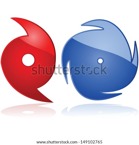 Set of two weather icons representing hurricanes or typhoons - stock photo