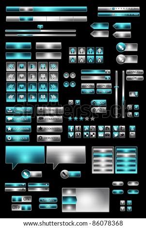 Set of ui azure/grey web elements on pure black background - stock photo