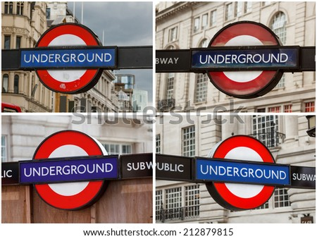 Set of underground station sign for the London  - stock photo