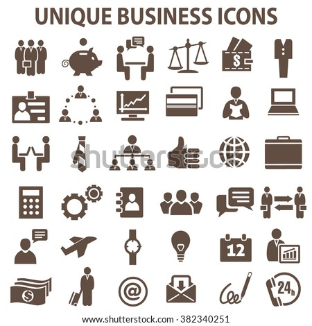 Set of 36 unique business icons. Business icons. Business icons JPG - stock photo