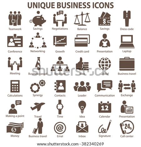 Set of 36 unique business icons. Business icons. Business icons JPG