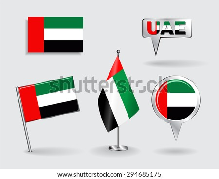 Set of United Arab Emirates pin, icon and map pointer flags. Raster version - stock photo