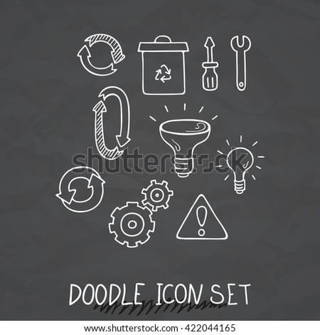 Set of Universal Doodle Icons. Variety of Topics. Processing, Arrows, Light Bulb. - stock photo