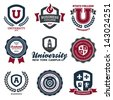 Set of university and college school crests and logo emblems - stock vector