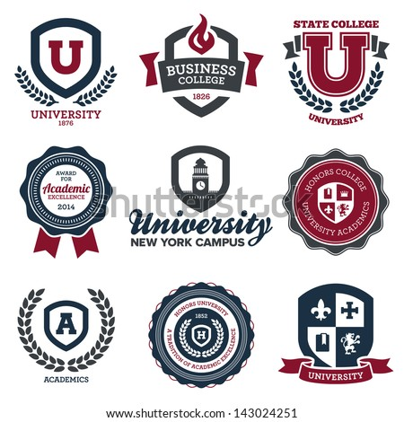 Set of university and college school crests and logo emblems