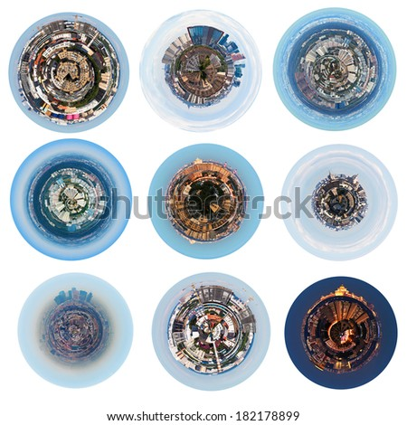 set of urban spherical panoramic views of residential districts in Moscow - stock photo