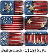 Set of USA Grunge Flags Six USA grungy metal flag with clipping path - stock photo