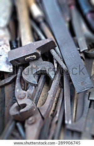 Set of used hand tools, vintage background with old tools ( vintage effect) - stock photo