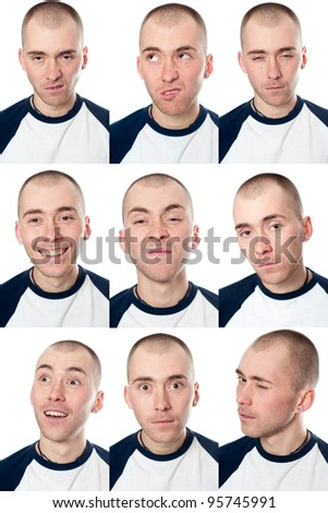 Set of useful man faces isolated on white - stock photo