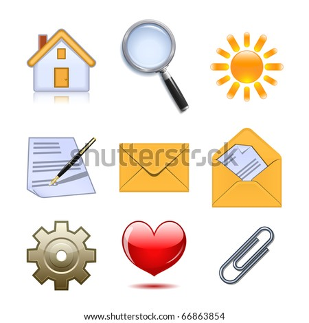Set of useful web icons. Raster version of vector illustration (id: 62238346) - stock photo