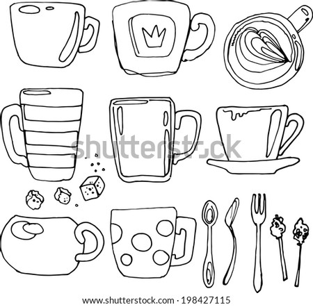 Set of utensils sketch black line, a coffee cup - stock photo