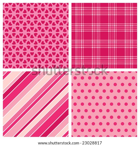 Set of Valentine Patterns - stock photo