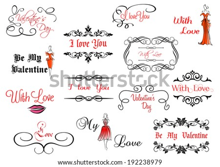 Set of Valentine's calligraphic headlines with design elements. Vector version also available in gallery - stock photo
