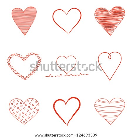 Set of Valentine's Day  heart icons.