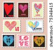 Set of Valentine's Day Postage Stamps - stock photo