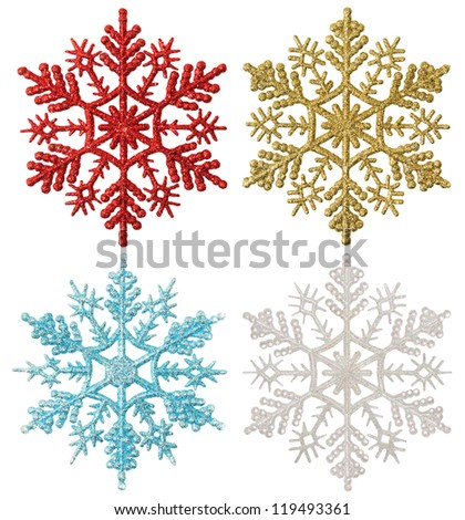 Set of varicolored snowflakes on a white background - stock photo