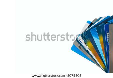 Set of variegated plastic cards - stock photo