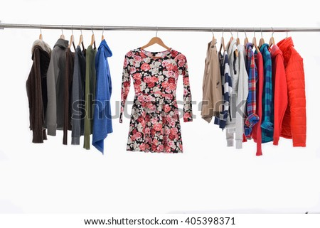 Set of Variety of colorful female clothing on hanging   - stock photo