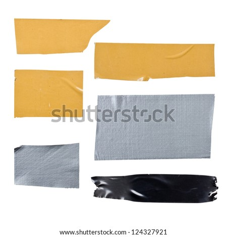 Set of various adhesive tape isolated on white background - stock photo