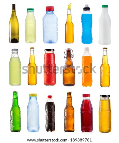 set of various bottles isolated on white background - stock photo