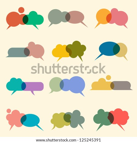 Set of various bubbles for speech. Raster version - stock photo