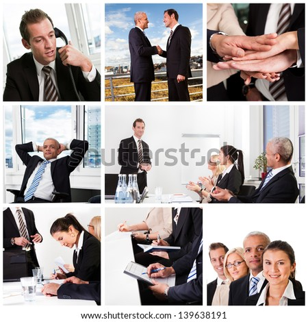 Set of various business images in the office