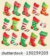 Set of various Christmas stockings. Elements for X-mas and New Year design. Raster version - stock
