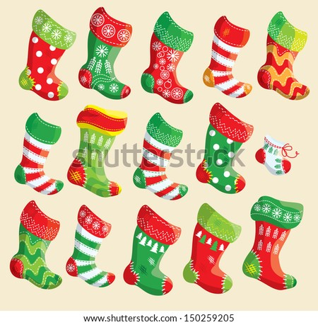 Set of various Christmas stockings. Elements for X-mas and New Year design. Raster version - stock photo