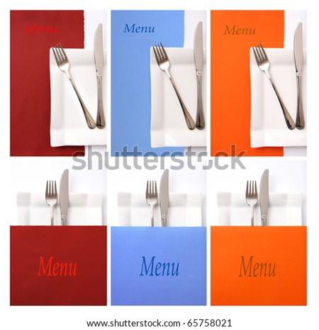 Set of various colorful restaurant menu - stock photo