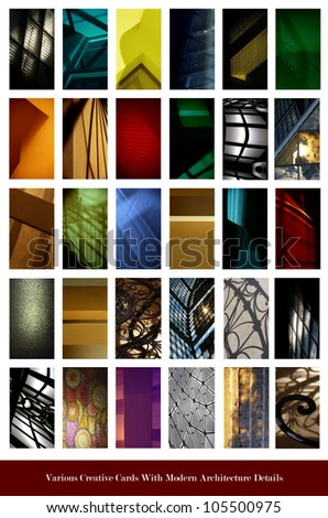 set of various creative colorful cards with modern architecture details - stock photo