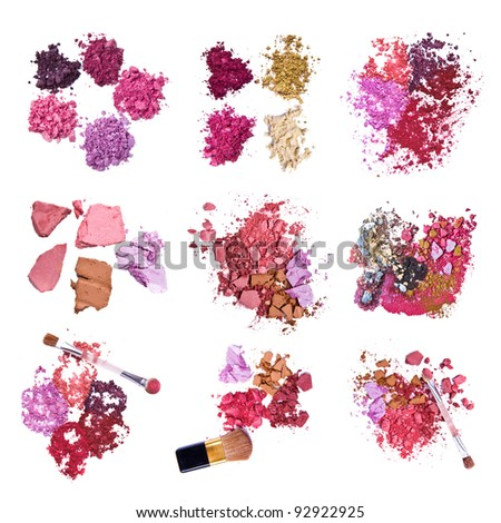 set of various crushed eyeshadows - stock photo