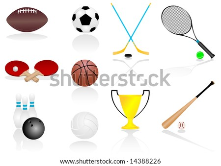 Set of various, detailed sport elements - stock photo