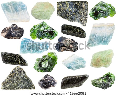 set of various Diopside natural mineral stones and gemstones isolated on white background
