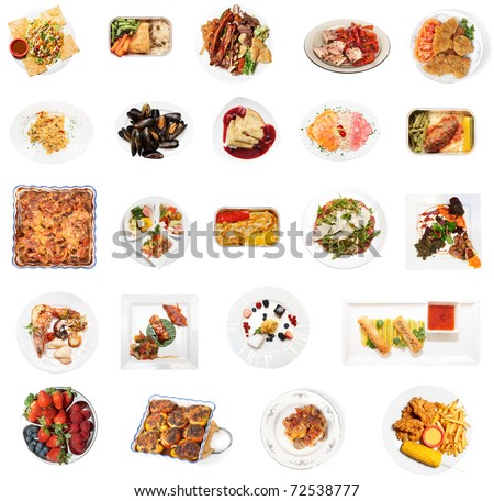 Set of 24 various dishes isolated on the white background - stock photo