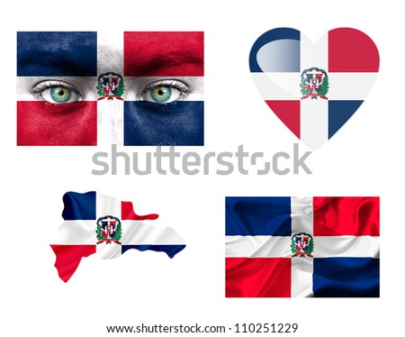 Set of various Dominican Republic flags - stock photo